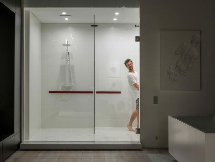 Loft: Cool Urban Loft in Kiev, Ukraine Designed by 2B Group, Urban Loft Bathroom View in The Night with Spacious Shower Area and Minimalist Design by 2B Group