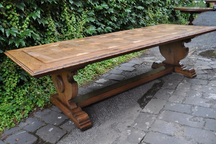 French Oak Parquetry Dining Table - Hand Finished
