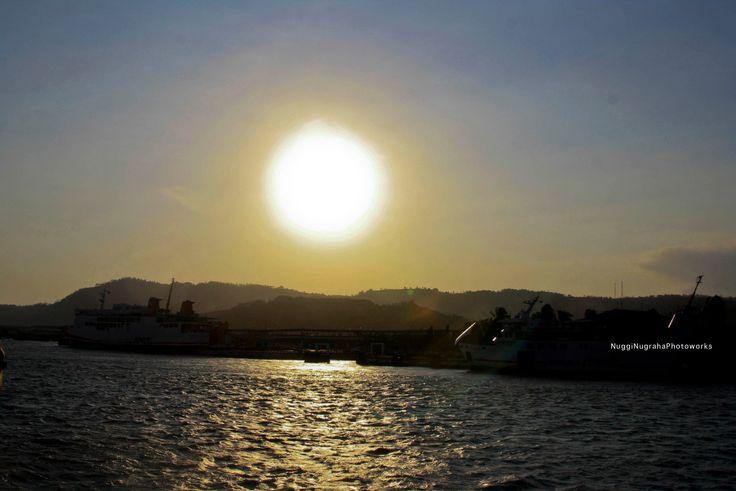 full sunset at bakauheni port lampung indonesia
