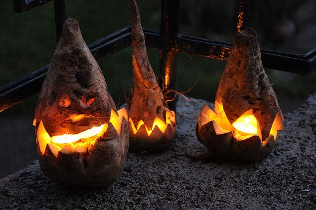 Sugar beet halloween lanterns - before they did it with pumpkins they did it with the Turnips and beets!