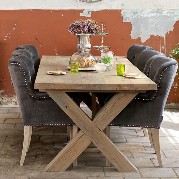 Kensington Industrial Reclaimed Wood Dining Table With Glass In