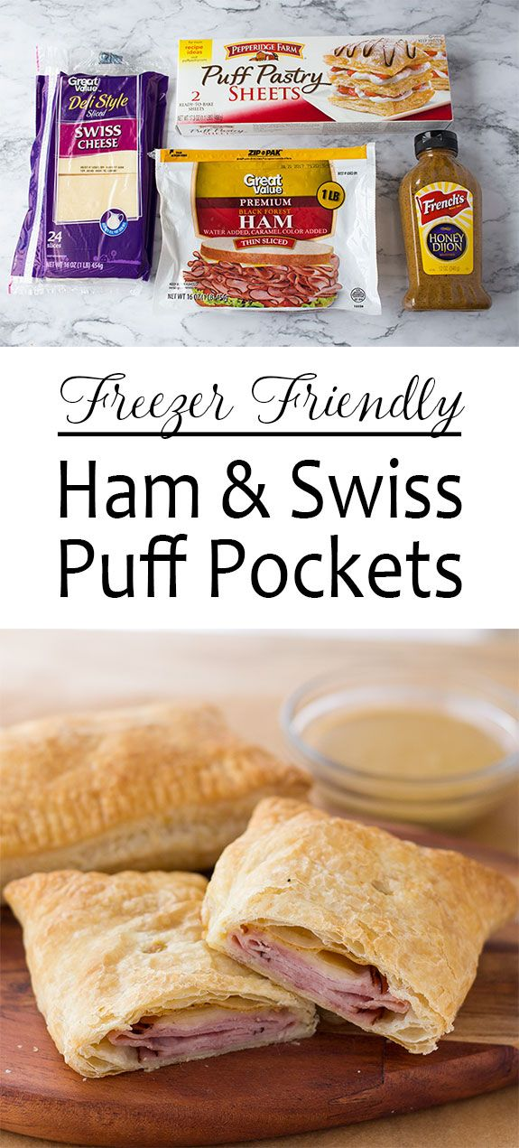 Ham & Swiss Puff Pockets - These sandwiches are great to have on hand - they go directly from freezer to oven, and 20 minutes later you have a warm and flaky ham and cheese sandwich!