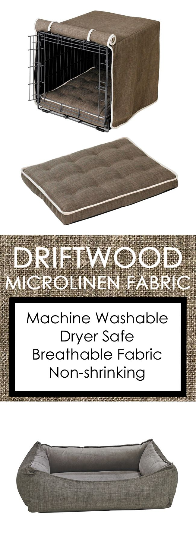 Our Driftwood Microlinen fabric is machine washable and dryer safe. Your dog will love the breathable material and you will enjoy the elegance it adds to your home. Shop Felixchien.com's full collection for crate covers, designer dog beds, dog carriers, collars, leashes and much more!