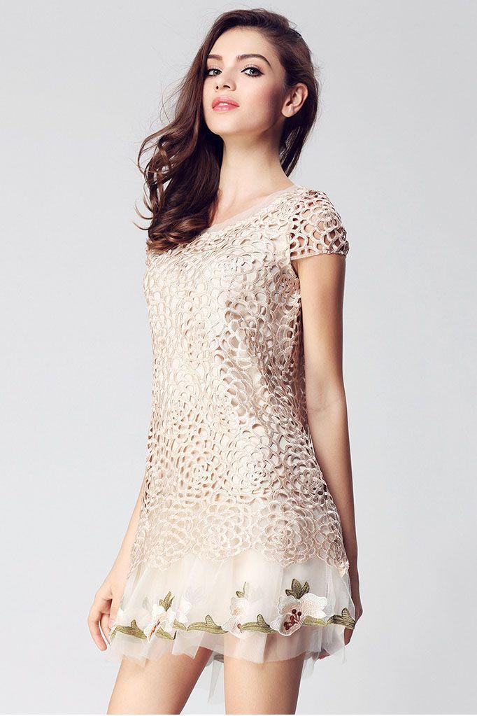 Dimensional embroidery dress skirt _Dresses(d)_DESIGNER_Voguec Shop