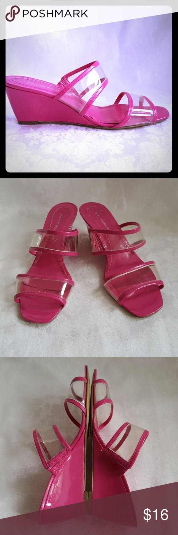 """Bandolino Hot Pink and Clear Plastic Wedge Sandal How fun and cute are these? 💗 Hop pink and clear plastic wedge by Bandolino. Approx. 2 1/2"""" wedge.   Excellent used condition. Smoke free and pet free home. Bandolino Shoes Wedges"""