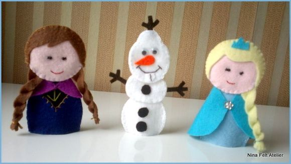 Dedoches em feltro dos personagens do filme Frozen.  Acabamento em ponto caseado, feitos com muito capricho!  Fazemos com embalagem e tag personalizado para lembrancinhas - faça um orçamento!