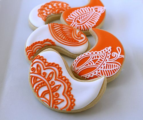 orange and white paisley cookies | Flickr - Photo Sharing!