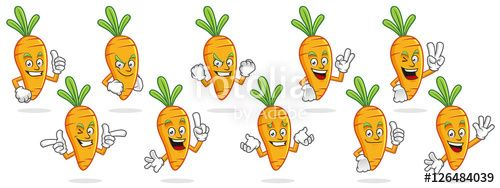 """Download the royalty-free vector """"Carrot mascot vector pack, Carrot character set, vector of Carrot"""" designed by ednal at the lowest price on Fotolia.com. Browse our cheap image bank online to find the perfect stock vector for your marketing projects!"""