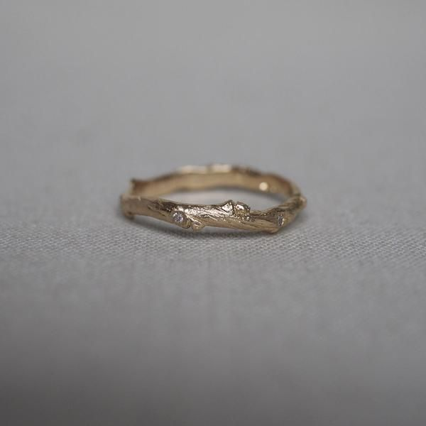 Solid Gold Hawthorn Twig Diamond Ring