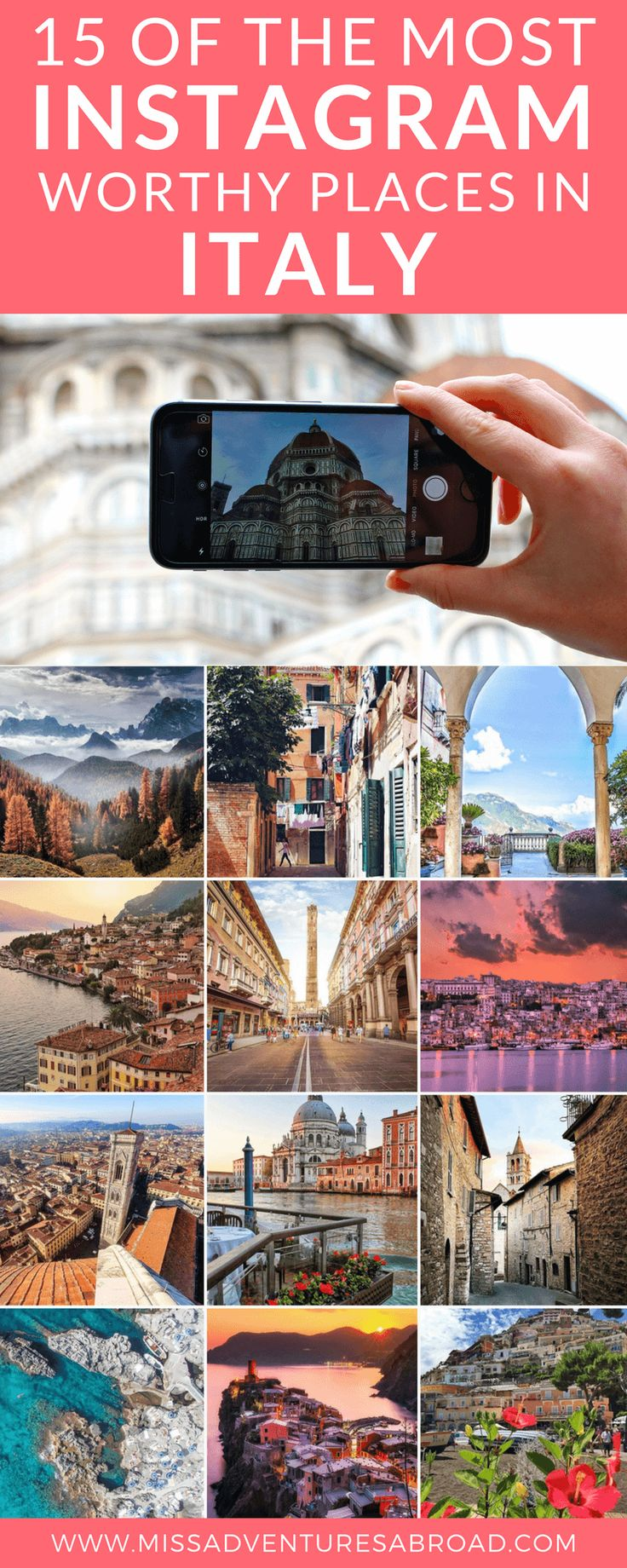 The 15 Most Instagram Worthy Places To Visit In Italy · From historic Rome and the Tuscan countryside to the beaches of Cinque Terre, discover the 15 best photo spots to travel to in all of Italy! These locations are simply stunning, and you are bound to find some pretty amazing places to feature on your Instagram account!