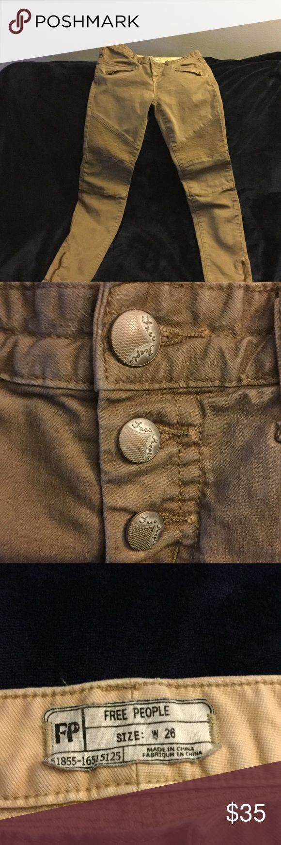 Free People moto khaki jeans *•PRICE DROP•* In excellent condition no wear signs Free People Jeans Skinny