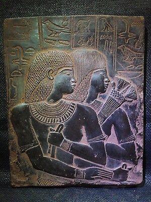 ANCIENT EGYPT EGYPTIAN ANTIQUE Ambassador Maya & Wife Stela Relief 1386-1349 BC