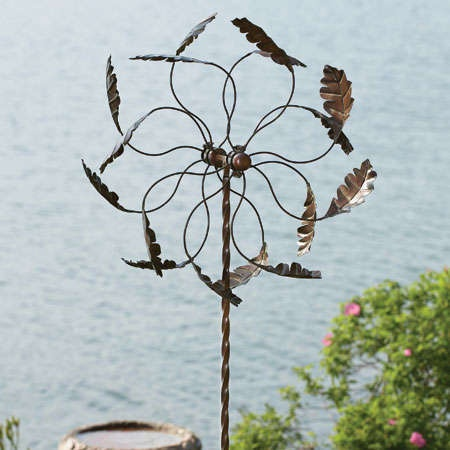 Lovely Ancient Graffiti Oak Leaf Pinwheel Wind Spinner Metal Yard Art Garden Stake
