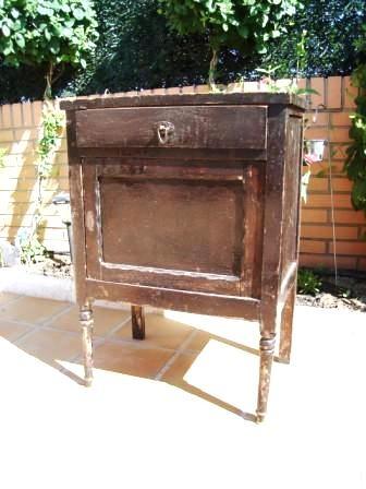 Antes y despu s una mesita de noche en muy mal estado - Reparar muebles antiguos ...