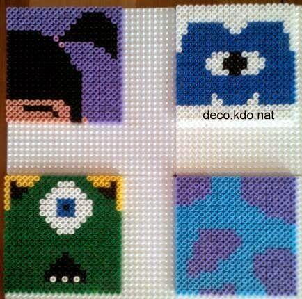 Monsters Inc. coasters hama perler beads by deco.kdo.nat