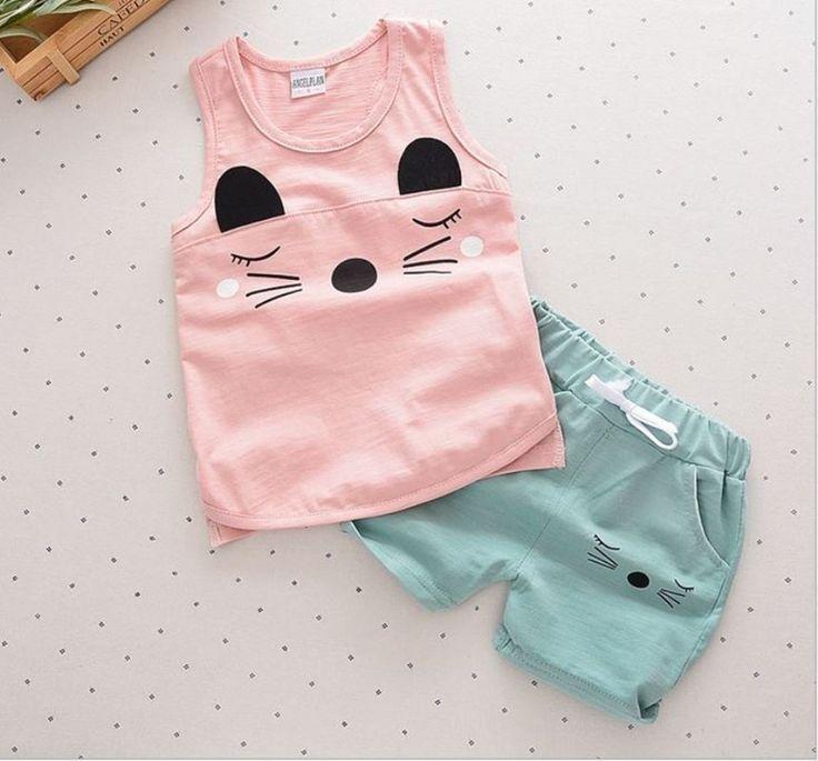 Summer Baby Boy / Baby Girl 2pc Cotton Sleeveless Set