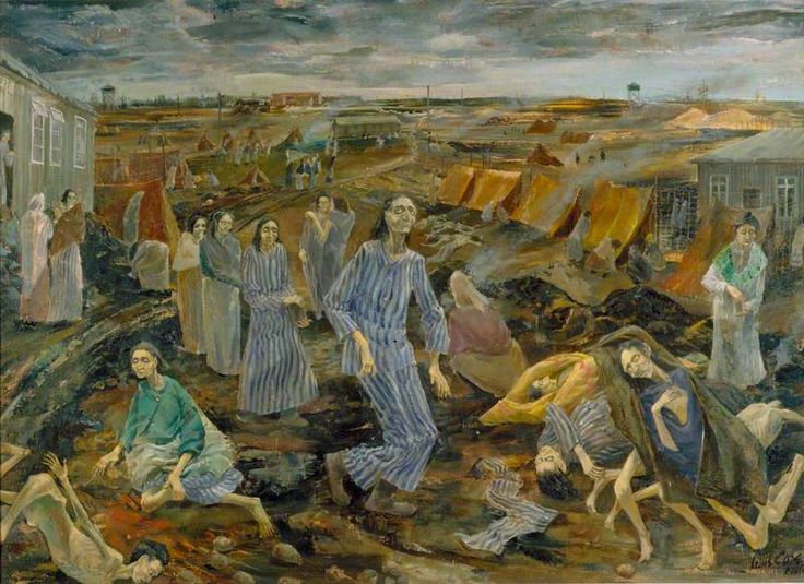 Belsen Camp: The Compound for Women by Leslie Cole IWM (Imperial War Museums)      Date painted: 1945     Oil on canvas, 66 x 90.1 cm     Collection: IWM (Imperial War Museums)