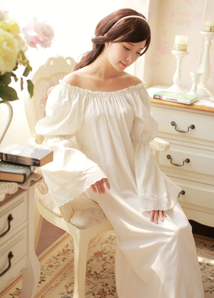 Eslpodcast prinsty royal 100% wind cotton flare sleeve princess nightgown vintage nightgown € 41,16