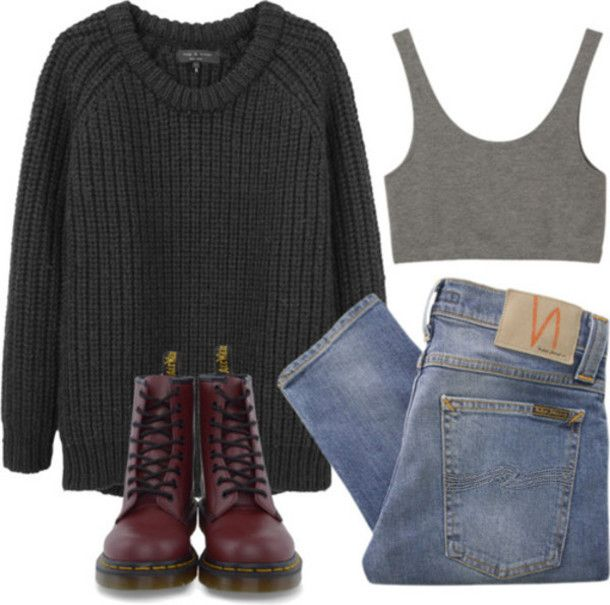 sweater pants outfit indie hipster grunge DrMartens crop tops shirt tank top