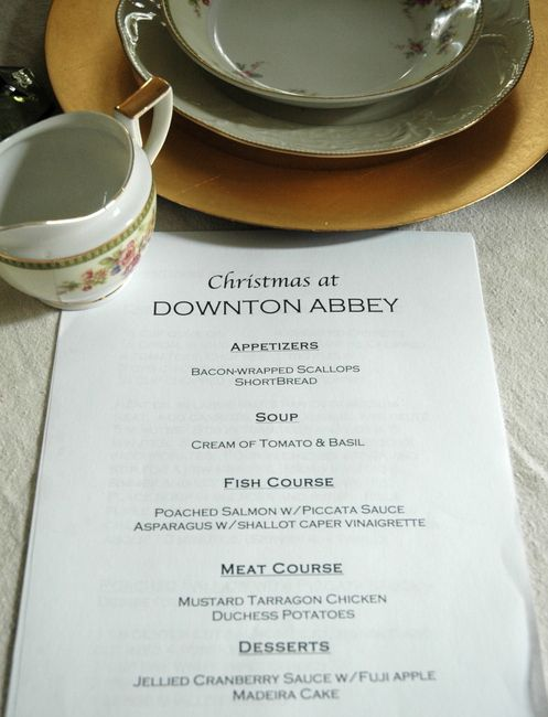 downton abbey christmas menu...the website has the entire party planning info...thanks, Jill!