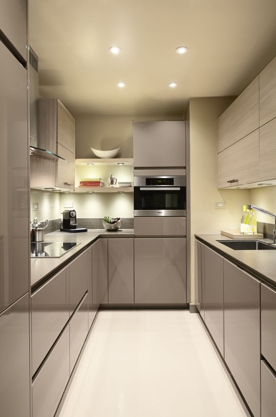 This galley kitchen by SieMatic New York designer Robert Dobbs brought light and efficiency into cramped Midtown Manhattan quarters.