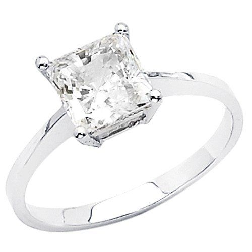 14K White Gold High Polish Finish Princess-cut 1.25 CT Equivalent Top Quality Shines CZ Cubic Zirconia Ladies Solitaire Wedding Engagement Ring Band - Size 4 The World Jewelry Center,http://www.amazon.com/dp/B004967AVI/ref=cm_sw_r_pi_dp_qNTIrb0EE68B49A0