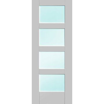 Image of Five Shaker 4 Pane White Primed Doors with Clear Safety Glass
