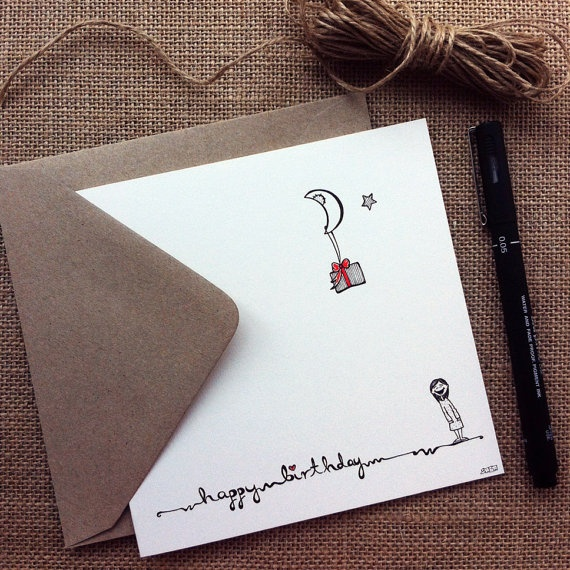 Happy Birthday Greeting Card  this hand drawn cute by SabSabWorld, £2.80