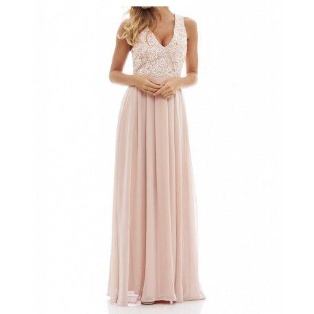 https://stylovesukienki.pl/ Pastelowa długa #sukienka z szyfonu z koronkowym topem i dekoltem V nude #wesele #sklep
