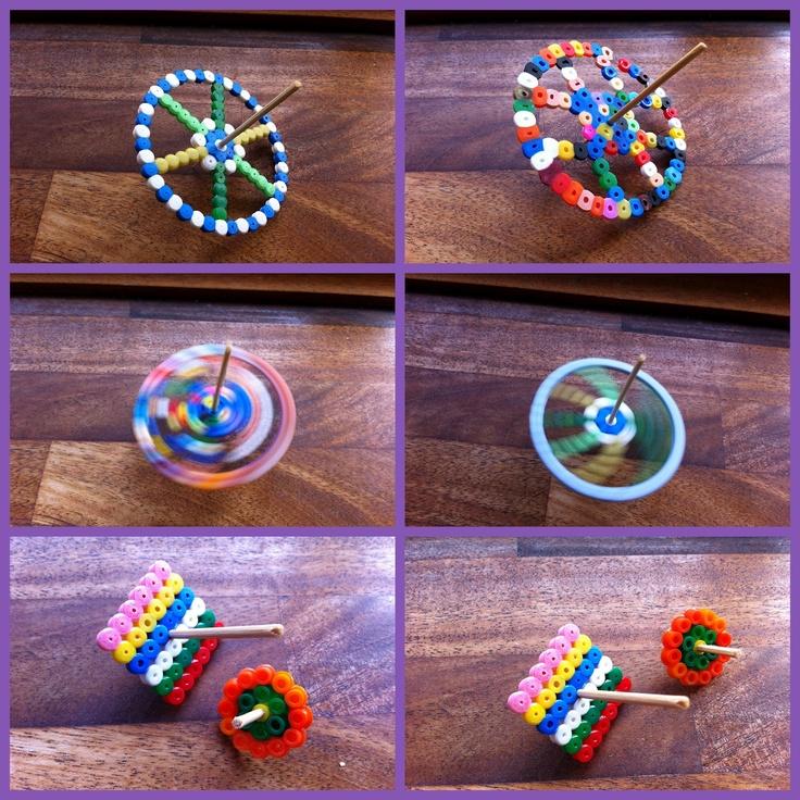 Snurretoppe lavet af perler. Set på bloggen hobbyamok
