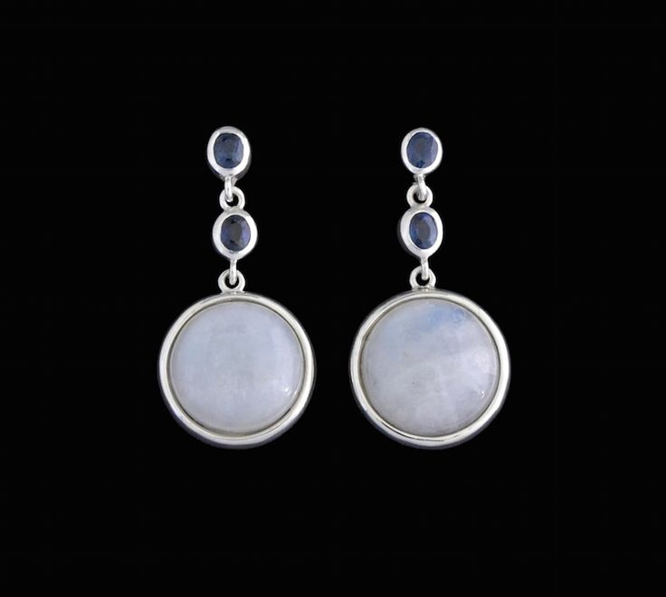 #moonstone #silver #sapphire #earrings