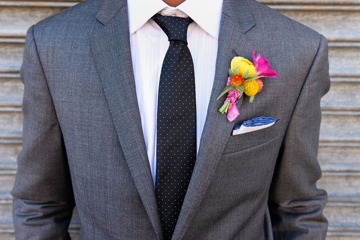 Jeremy Lawson Photography. Vale of Enna flowers. Salvage One. Ranunculus. Craspedia. Freesia. Yellow and Fuchsia. Boutonniere. Chicago Wedding.