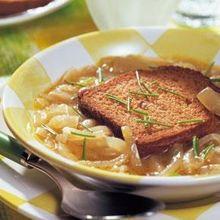 (Zwiebelsuppe mit dunklem Bier) Serves: 4 Ingredients: 4 Brandt Zwieback toasts 4 onions 4 tbsp butter 32 fl oz beef broth salt and pepper ...