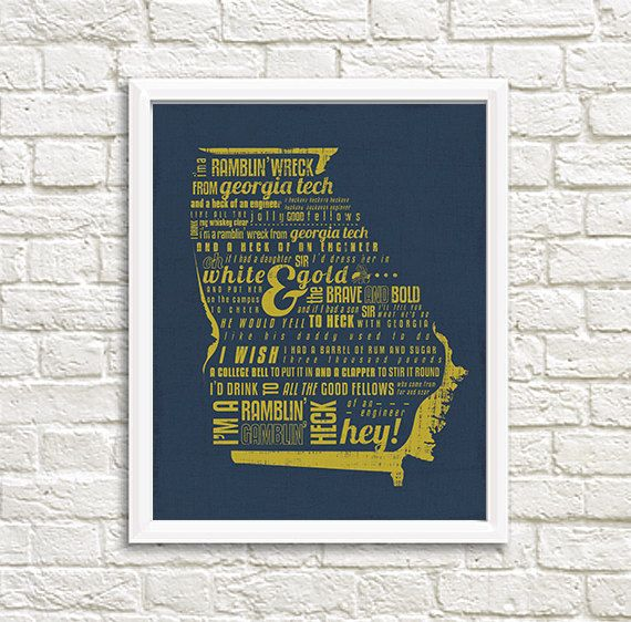 **PLEASE NOTE: THIS LISTING IS FOR A DIGITAL FILE THAT YOU WILL PRINT YOURSELF**   Just what every Yellow Jackets fan needs! This is a printable of the beloved Georgia Tech fight song!   For purchase is a high resolution jpeg file for download. Find a rustic or modern 8x10 frame, print image full scale in color on letter size paper (8.5x11), trim, assemble, and enjoy! Artwork is done in a grunge/chippy-art style and pairs well with milk paint or chalk paint frames. Colors include gold&#x...