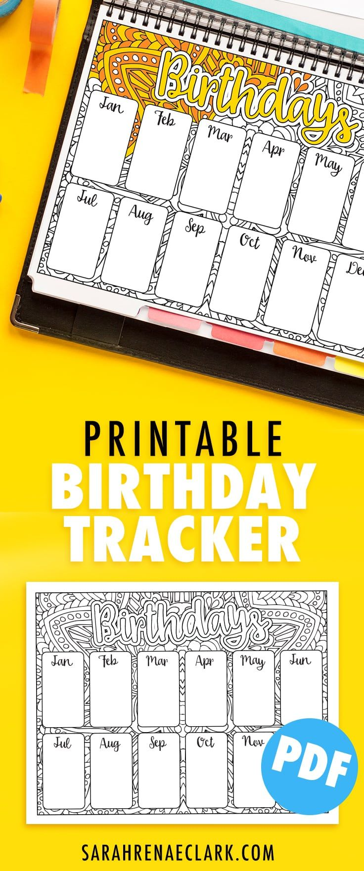Birthday Tracker Printable   Pinterest   Planner inserts, Printable ...