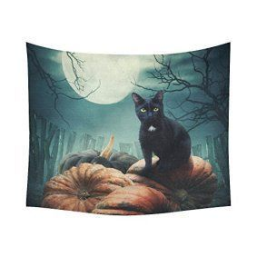 Halloween wall décor is especially twisted, creepy and  spooky for Halloween 2017.  In fact you  can marvel at ghostly Halloween Wall decorations ranging from creepy skulls,  Silly pumpkins, sleek black cats, frightening monsters and other creepy  frights.  Great Halloween Holiday wall décor  makes Halloween wicked cool.      InterestPrint Black Cat Pumkin Home Decor Tapestries Wall Art, Night Sky Moon Tree Tapestry Wall Hanging Art Sets 60 X 51 Inches