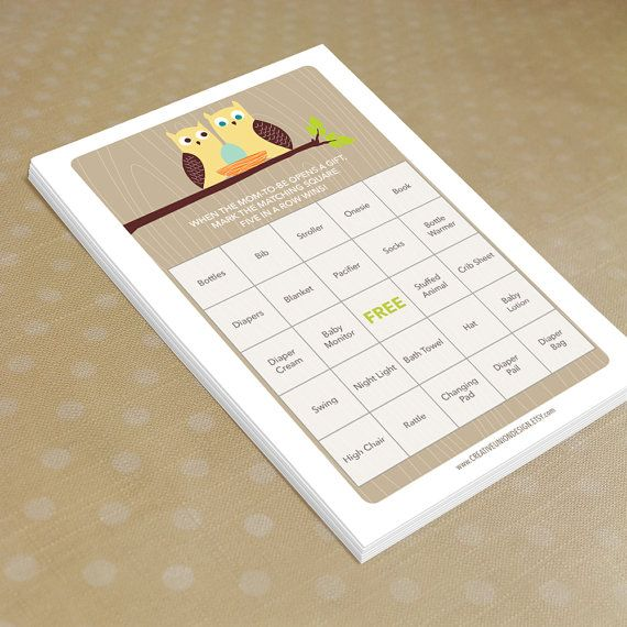 Instant Download  Owl Baby Shower Bingo   by CreativeUnionDesign, $5.00