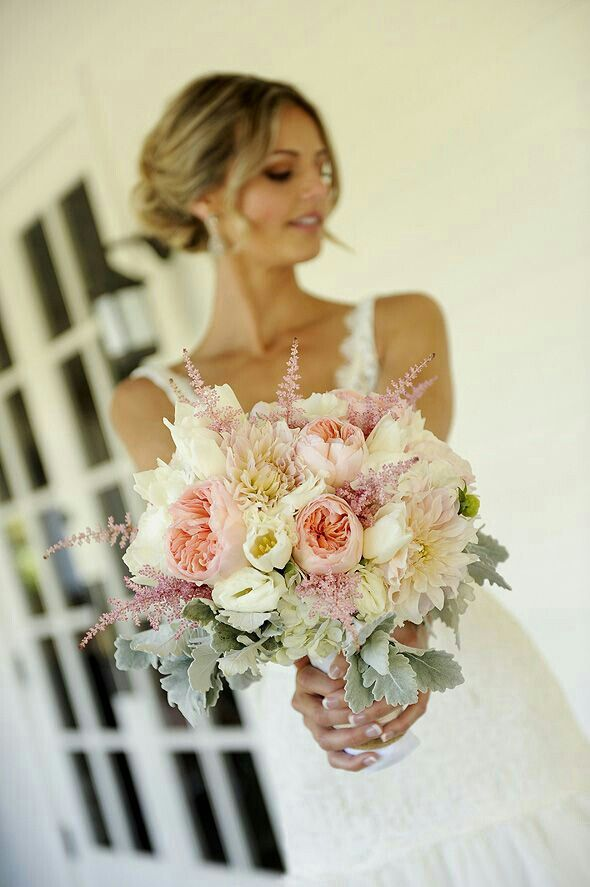 {Ivory & Blush Chrysanthemums, White Tulips, White Lisianthus, Pink English Garden Roses, Pink Astilbe, & Dusty Miller Complete This Pretty Bouquet}