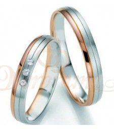 Βέρες γάμου δίχρωμες με διαμάντι Breuning 7127-7128