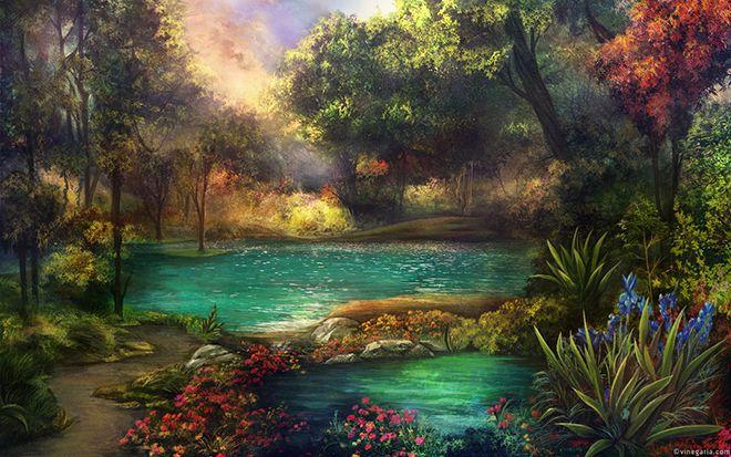 Forest Nature Painting Forest Painting Fantasy Hd Wallpaper Fantasy Landscape Landscape Art Landscape Wallpaper