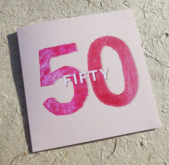 Red Fifty 50 Greetings Card GUN03 from Grown Up by LuckandJudgement  But it now on Etsy