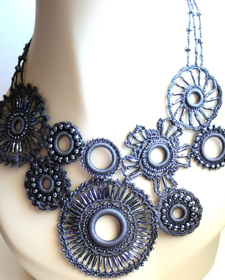 Want it! Crochet Charcoal Medallion Beaded Asymetrical by KnotTherapy
