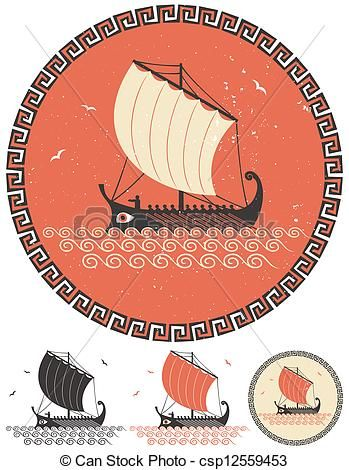 Greek Ship - Stylized illustration of ancient Greek ship in.