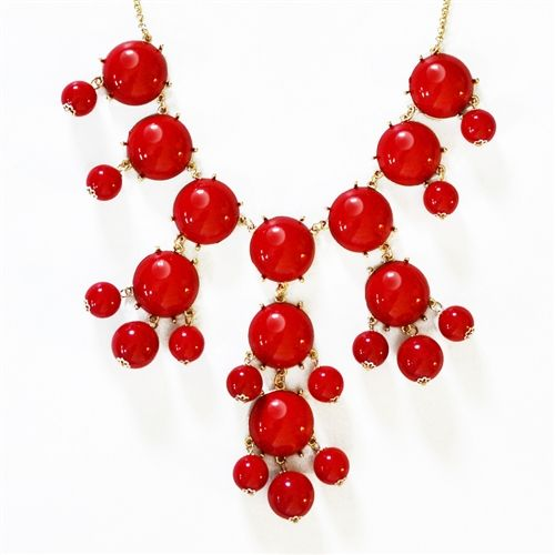 Red Bubble Necklace - bauble bib necklace with hanging beads