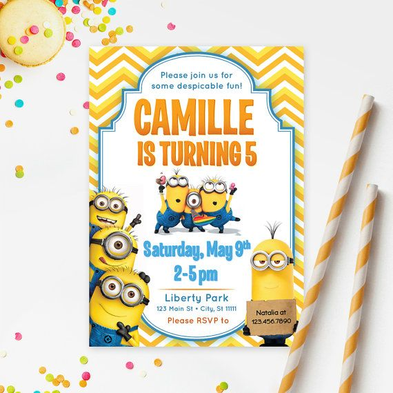 DESPICABLE ME MINIONS Invitation Printable Kids by RedHeadInvites
