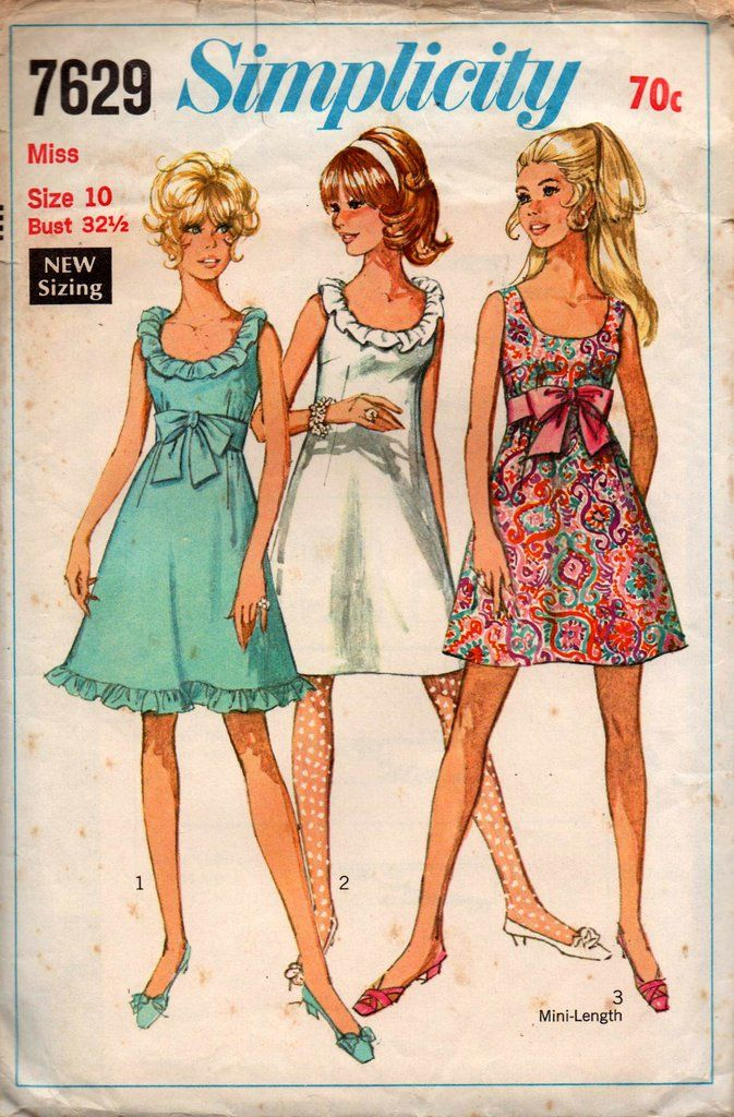 Simplicity 7629 Womens Ruffled A Line Dress 60s Vintage Sewing Pattern Size 10 Bust 32 1/2 Inches