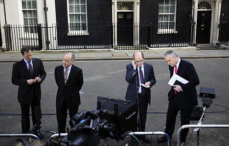 Tom Bradby waits in Downing Street alongside Alastair Stewart of ITN and Nick Robinson and Huw Edwards