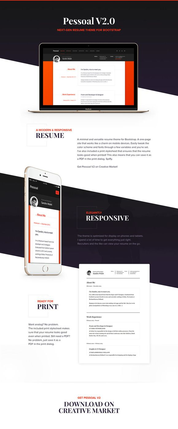 Pessoal  Modern Resume Theme Creativework  Bootstrap