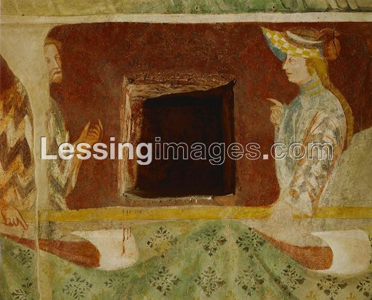 """Knights and ladies in intimate conversation cover the walls of the armoury, therefore also called """"the hall of the lovers"""". 14th century murals in Runkelstein castle show medieval courtlife, sports and other pastimes of the knights. The lady is probably Margarete Maultasch because the hat is her style."""