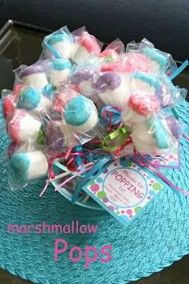 """""""She's Gonna POP"""" theme: marshmallows on a lollipop stick, dipped in white chocolate then dipped in sprinkles."""